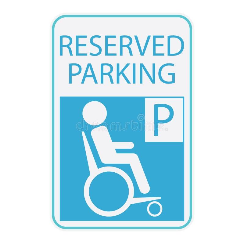 For lub wózek inwalidzki osoby ikona, podpisujemy zarezewowanego parking royalty ilustracja