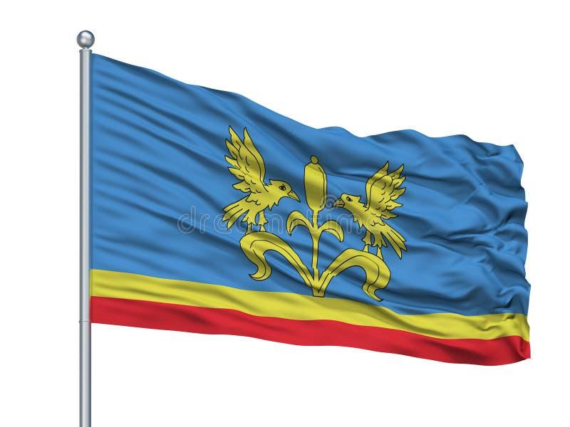 Luban City Flag On Flagpole, Bielorrusia, aislado en el fondo blanco ilustración del vector
