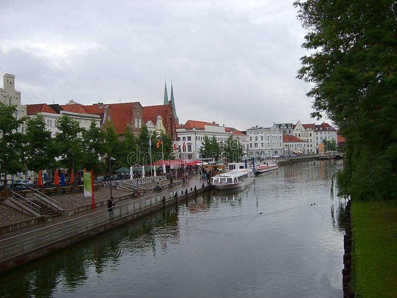 Historic city of Luebeck with famous Trave river Schleswig-Holstein stock photos