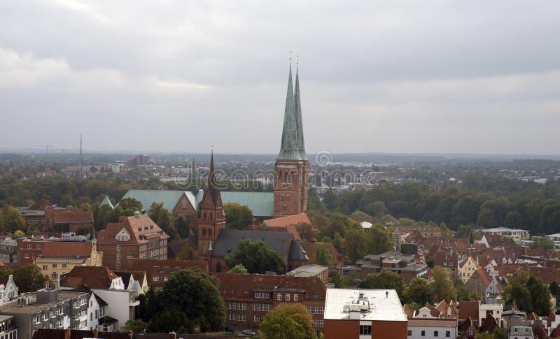 Lubeck skyline stock photo