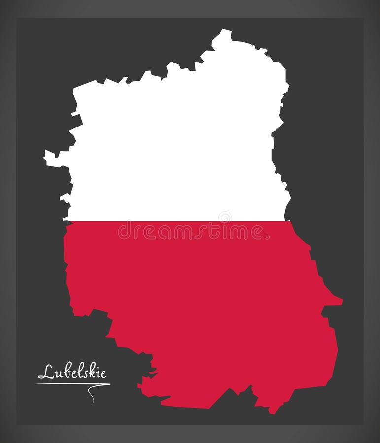 Lubelskie map of Poland with Polish national flag illustration. Lubelskie map of Poland with Polish national flag royalty free illustration
