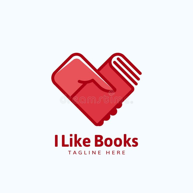 Lubię książka wektoru Abstrakcjonistycznego znaka, emblemat lub loga szablon, Ręka Trzyma książkę w Kierowym kształcie ilustracja wektor