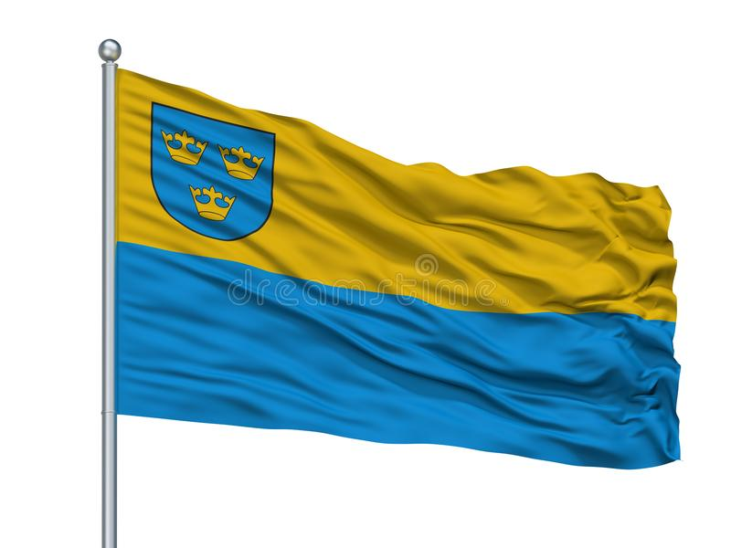 Lubin City Flag On Flagpole, Pologne, d'isolement sur le fond blanc illustration de vecteur