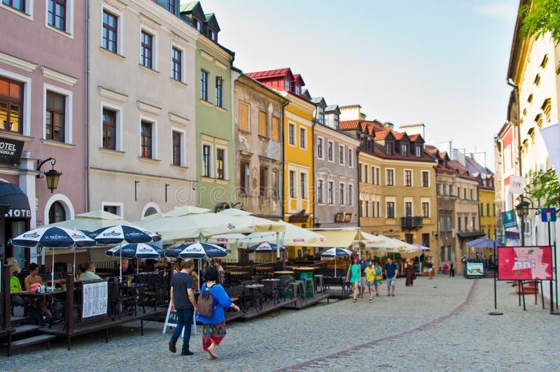 Lublin, Πολωνία: Τα παλαιά πόλης ιστορικά κτήρια στοκ εικόνες με δικαίωμα ελεύθερης χρήσης