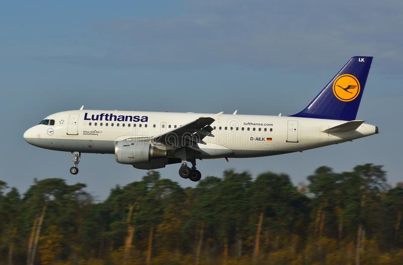 Lublin Airport - Lufthansa plane landing. This is a view of Lufthansa plane Airbus A319-114 landing over the Lublin Airport. November 6, 2014, Lublin Airport in royalty free stock photo