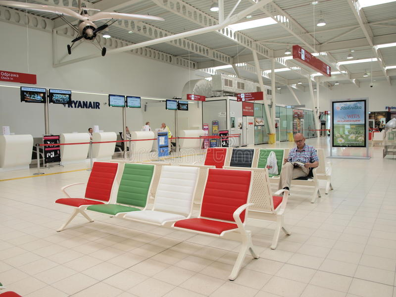 Lublin airport, Poland. Departure lounge at the Lublin airport, Swidnik, Poland stock photo