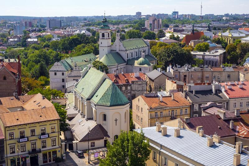 Lublin, Poland - Panoramic view of historic old town quarter with St. Peter Apostle church and Conversion of St. Paul church. Lublin, Lubelskie / Poland - 2019/ royalty free stock photography
