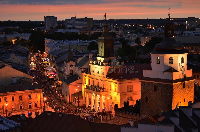 Lublin nocą obraz royalty free