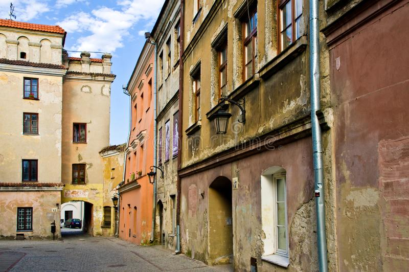 Lublin Poland, Old Town street with colorful house facades stock photo