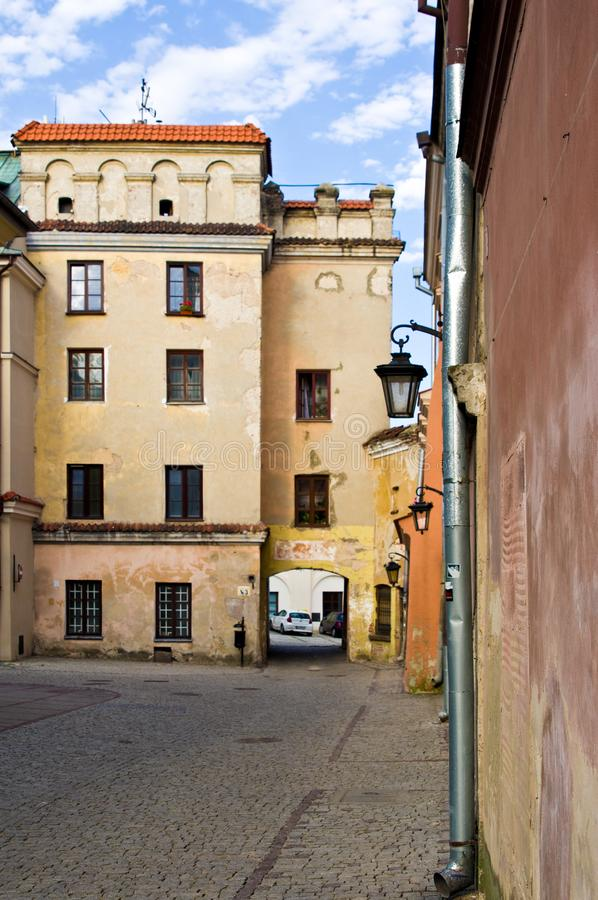 Lublin Poland, Old Town street with colorful house facades stock images