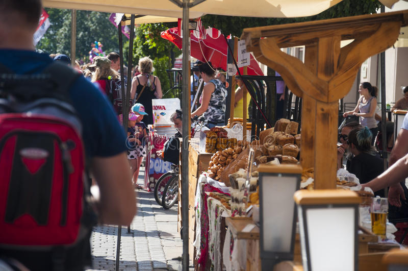 LUBLIN, POLAND- 29 july 2017- street shop sellers offering local stock photo