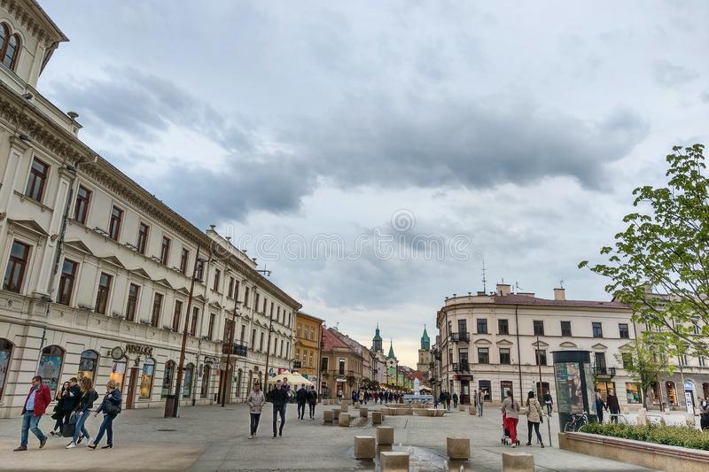 Lublin, Poland - May 14, 2019: The streets of the old city of Lublin, which tourists walk royalty free stock image
