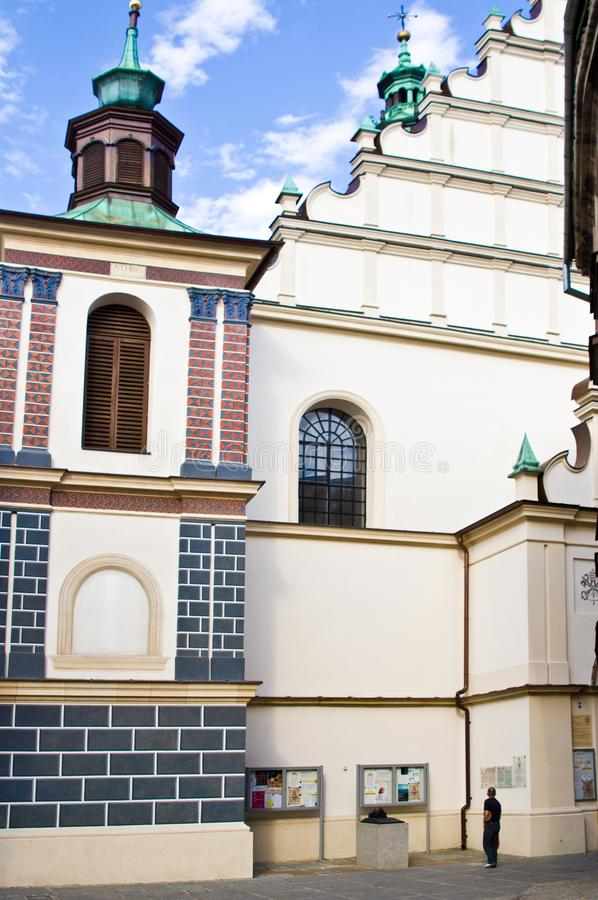 Lublin, Poland, Old Town Cathedral. Lublin, Poland, July 2019 - the Old Town area, facade of the cathedral stock photography