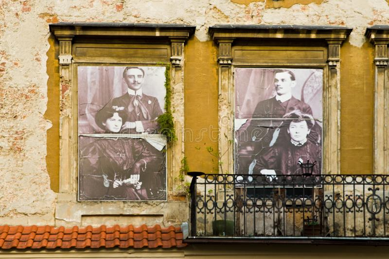 Lublin, Poland: Old Town facades detail with former residents of the house. Lublin, Poland, July 2019: detail of the facades of the Old Town, images depicting stock photos