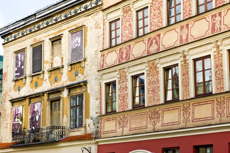Lublin, Poland: Old Town facades detail with former residents of the house. Lublin, Poland, July 2019: detail of the facades of the Old Town, images depicting stock photography