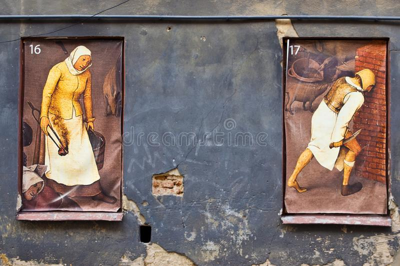 Lublin Poland, Old Town street with retro paintings in the window stock photo