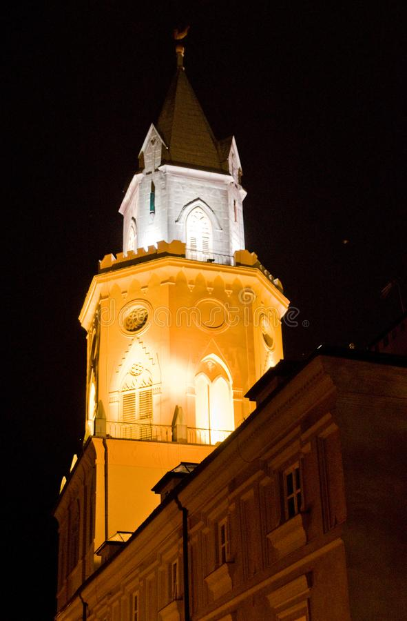 Lublin Poland, Museum Tower at night. Lublin, Poland, the tower and spire of downtown Old Town Museum Diecezjalne tower and spire. Historic landmark architecture stock photos