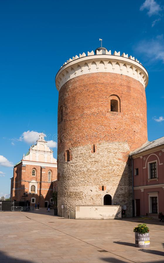 LUBLIN, POLEN - JULY27, 2018: Turm des königlichen Schlosses von Lublin a stockbilder