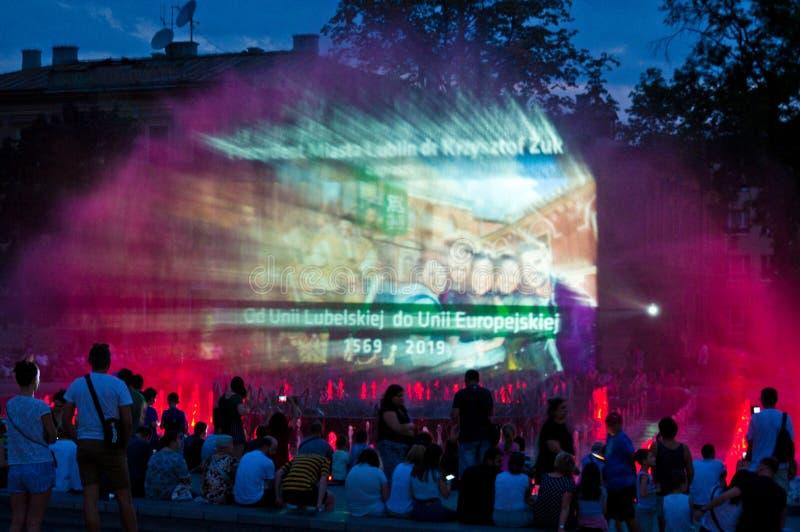Lublin, Polonia, fuente de Plac Litewski en la noche imágenes de archivo libres de regalías