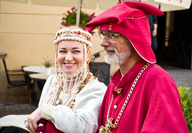 Lublin Polonia: Miembros del Consejo de la ciudad vestidos para arriba fotografía de archivo