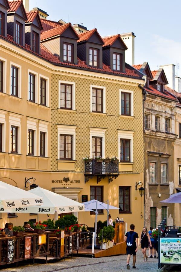 Lublin, Polska: Starzy Grodzcy historyczni budynki zdjęcia royalty free