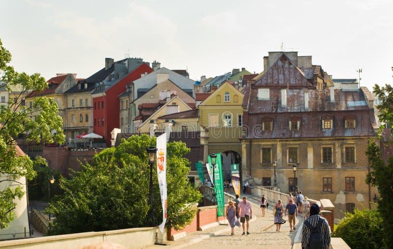 Lublin, Polska: Starzy Grodzcy historyczni budynki zdjęcie stock