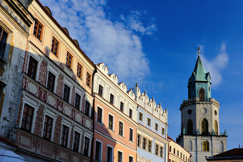 Lublin, Polska: wznawiający dziejowi budynki w starym miasteczku zdjęcia royalty free