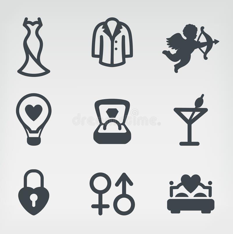 Download Ślubny wektorowy ikona set ilustracja wektor. Ilustracja złożonej z kędziorek - 28972353