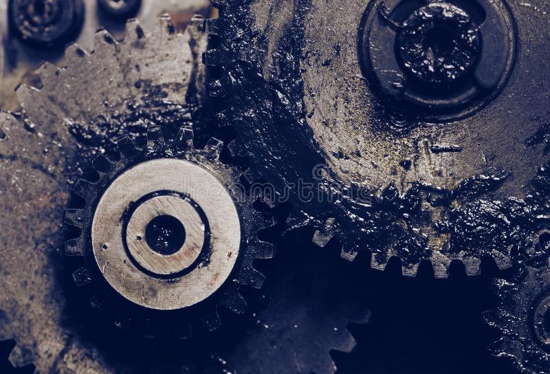Lubricated gearwheels as a machinery details.  royalty free stock photography