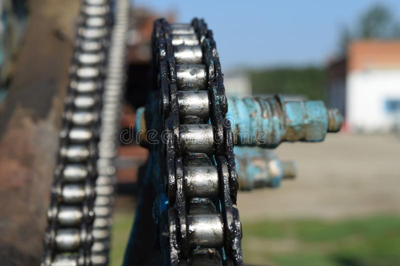 Lubricated salidolom chain chain transmission royalty free stock photo