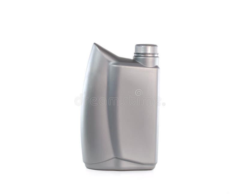 Lubrificantes, garrafa de óleo do motor isolada no fundo branco fotos de stock royalty free