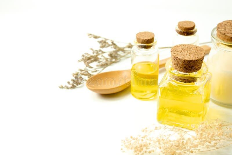 Lubrifichi organico con la bottiglia del modello della stazione termale ed il cucchiaio cosmetici di legno con il caspia secco de fotografie stock libere da diritti