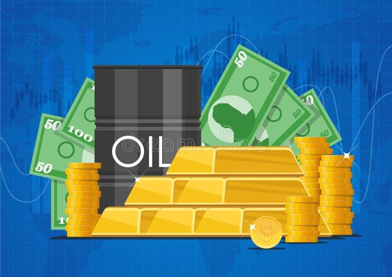 Lubrifique o barril, as barras de ouro e as pilhas de dinheiro Ilustração do vetor do conceito dos mercados de finança do negócio ilustração royalty free