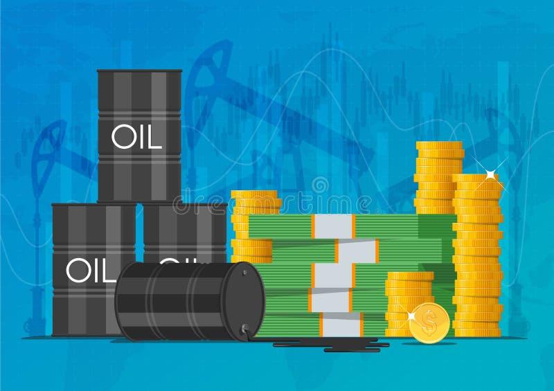 Lubrifique o barril, as moedas de ouro e as pilhas de dinheiro Ilustração do vetor do conceito dos mercados de finança do negócio ilustração royalty free