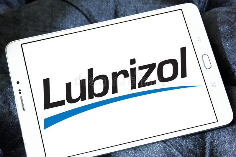 Lubrizol chemicals company logo. Logo of Lubrizol chemicals company on samsung tablet. The Lubrizol Corporation is a provider of specialty chemicals for the royalty free stock photos