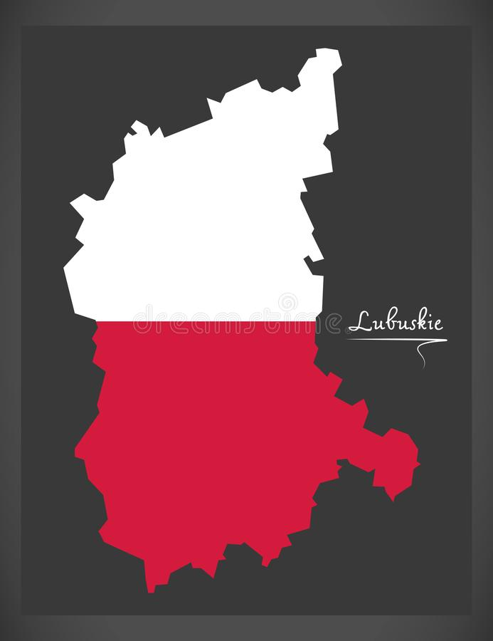 Lubuskie map of Poland with Polish national flag illustration. Lubuskie map of Poland with Polish national flag illustratio royalty free illustration