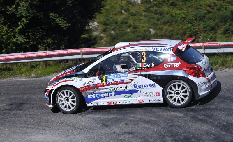 Luca Betti con la Peugeot 207 S2000. immagine stock libera da diritti