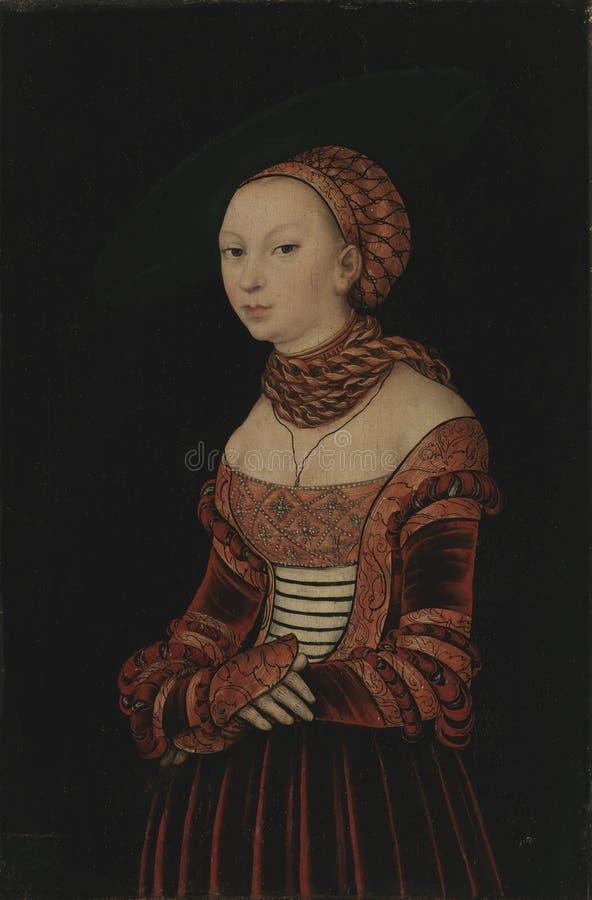"""Lucas Cranach fläderna/vanhempi/håla äldre ( 1472(? ) †""""1553): Ståenden av en ung kvinna/en Nuoren naisen M royaltyfri foto"""
