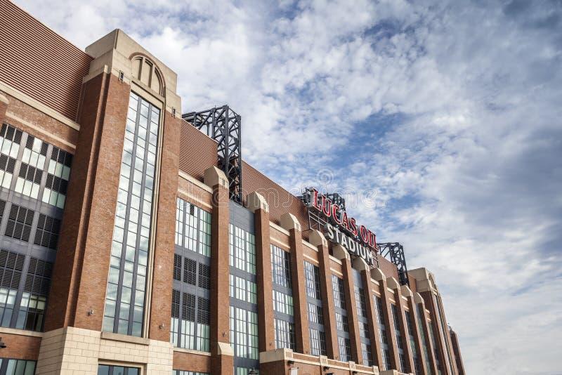 Lucas Oil Stadiums Stadtzentrum herein von Indianapolis, Indiana lizenzfreies stockbild