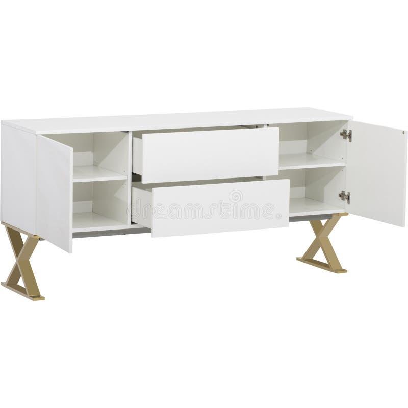 Lucas Sideboard   Rove Concepts, unit? bianca di spettacolo di 6 cassetti TV, apprettatrice del cassetto di Mateer 6 con fondo bi fotografia stock