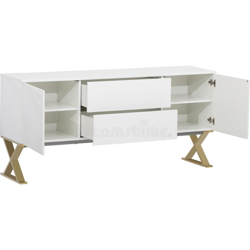Lucas Sideboard | Rove Concepts, white 6 Drawer TV Entertainment Unit, Mateer 6 Drawer Dresser with white background stock photography