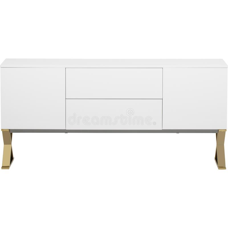 Lucas Sideboard | Rove Concepts, white 6 Drawer TV Entertainment Unit, Mateer 6 Drawer Dresser with white background royalty free stock photo
