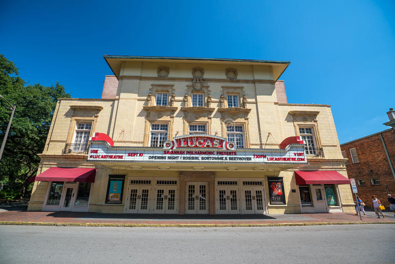 Lucas Theatre on Abercorn Street in the historic downtown Savannah royalty free stock photos