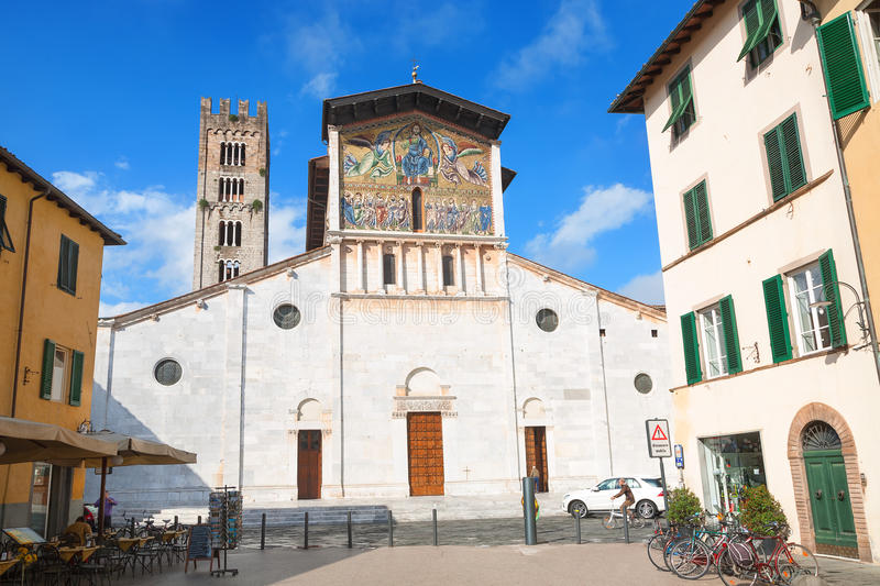 Lucca. Ancient church of San Frediano on the Piazza San Frediano in Lucca. Italy stock photography