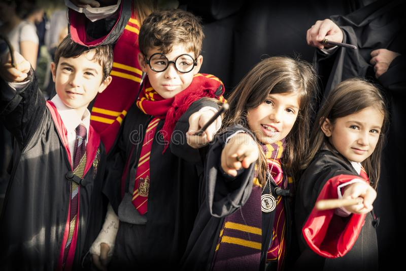 Children disguised as Harry Potter during the carnival. Lucca, Italy, 03/11/2018: Children disguised as Harry Potter during the carnival organized in the city of royalty free stock photos