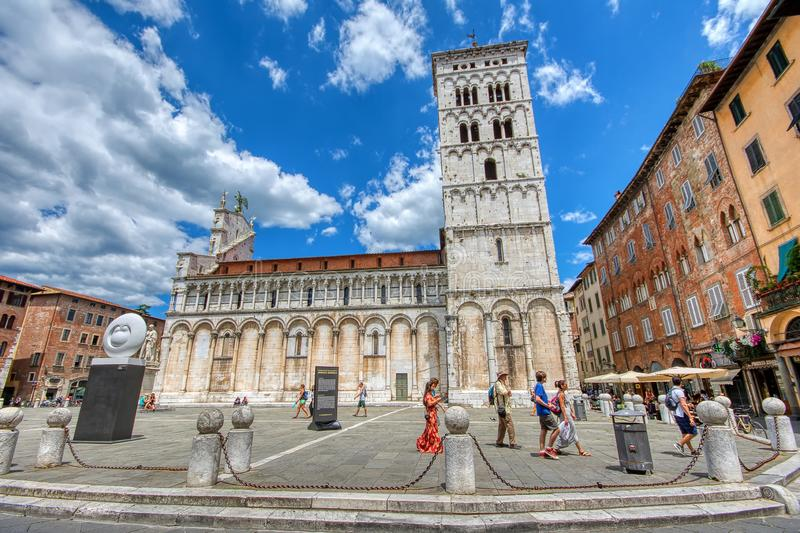 San Michele in Foro church in Lucca, Italy stock photography