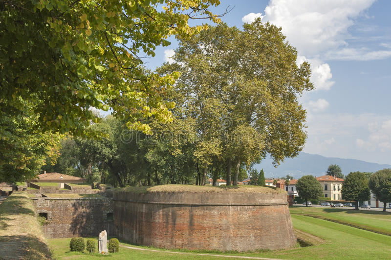 Lucca medieval city walls, Italy stock photos