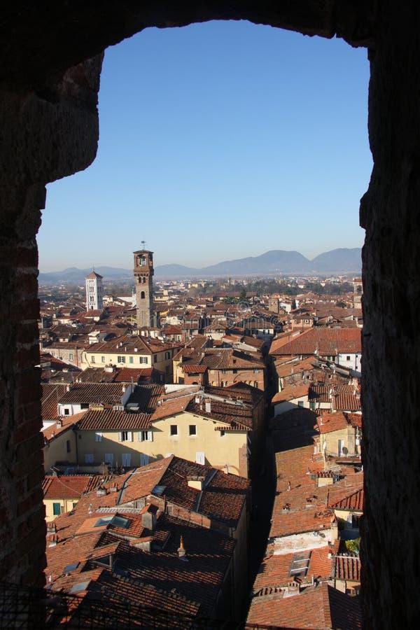 Lucca ` s śródmieścia krajobraz zdjęcia stock