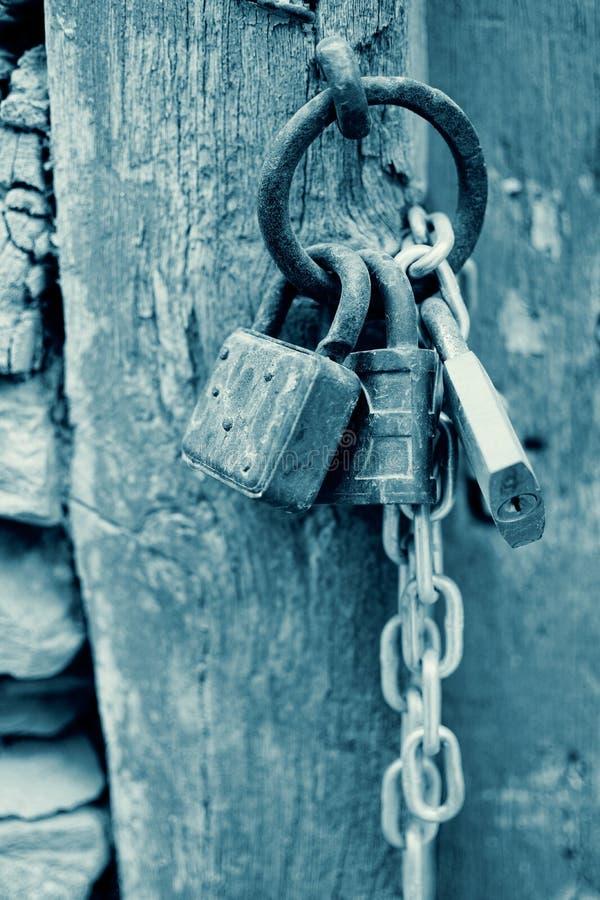 Lucchetti corrosi annata con la catena su un fondo antico del portone in ciano Rusty Padlocks anziano sulla porta immagini stock libere da diritti