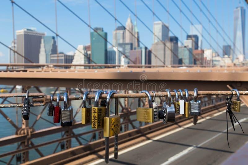 Lucchetti sul ponte di Brooklyn immagine stock libera da diritti